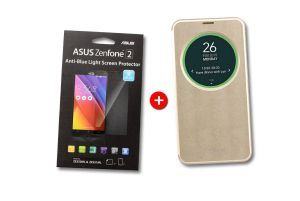 Pack View Flip Gold - Screen protector pour ZenFone 2 ZE550ML et ZE551ML