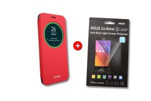 Pack View Flip rouge - Screen protector pour ZenFone 2