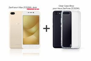 Pack ZenFone ZC520KL (X00HD) doré et Clear Case